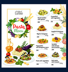 Italian cuisine traditional pasta dishes menu vector
