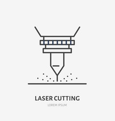 Laser cutting flat line icon metal works tool vector