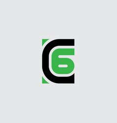 Letter c and number 6 six - logotype c6 - logo vector