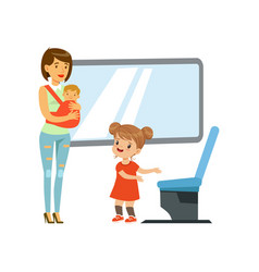 little girl giving way to woman with baby in vector image