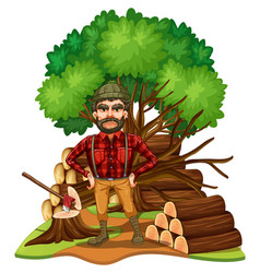 Lumber jack and firewood in the field vector