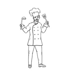 male chef of the restaurant in uniform and white vector image