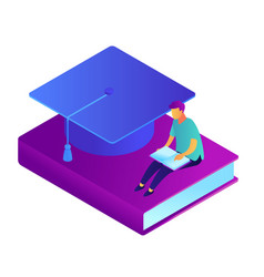 male student reading and sitting on the book and vector image