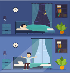 Man sleeps in bed at night and wakes up in the vector