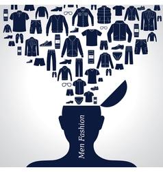 men s fashion background set clothing icons vector image