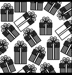 Monochrome background pattern of gift boxes with vector