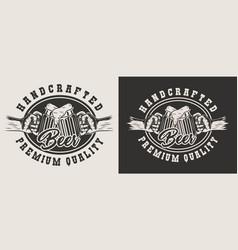 monochrome craft beer emblem vector image