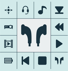 music icons set with rewind play musical note vector image