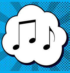 music notes sign black icon in bubble on vector image