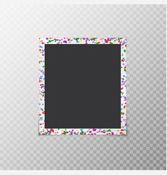 Photo frame with flying confetti vector