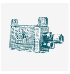 Photo movie film camera vintage engraved hand vector