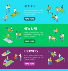 Physiotherapy people banner horizontal set 3d vector