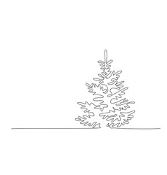 Pine fir trees in a forest continuous one line vector