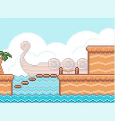 Pixel art game scene with wooden plarforms palm vector