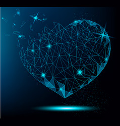 polygonal heart on blue background vector image