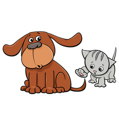 Puppy and kitten characters cartoon vector