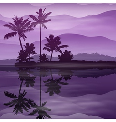 Purple background with sea and palm trees at night vector image