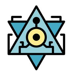 Pyramid alchemy icon color outline vector