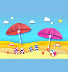 Red and pink parasol - umbrella in paper cut style vector