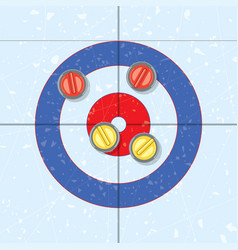 Red and yellow curling stones vector