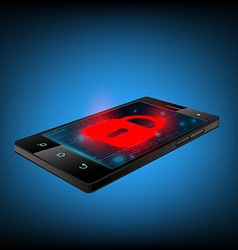 Red lock on the smartphone screen vector