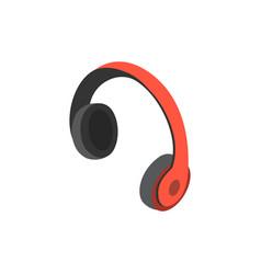 red wireless headphones isometric 3d icon vector image