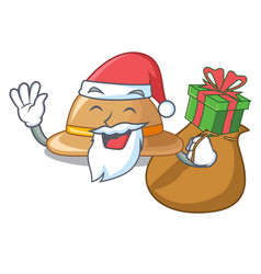 santa with gift cork hat in a cartoon style vector image