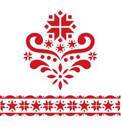 Scandinavian chrirstmas folk art design set vector