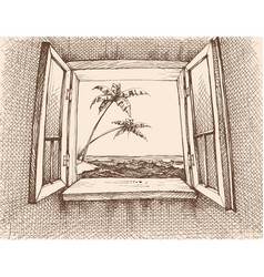 sea view from window hand drawing vector image