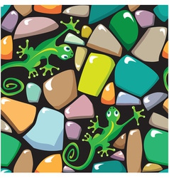 Seamless texture of stonewall with lizards vector image