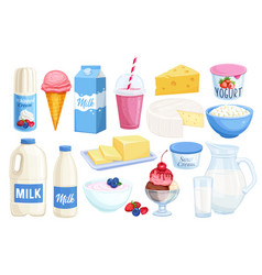 Set dairy products vector