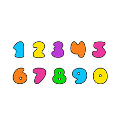 set of colorful numbers vector image