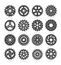 Set of gear icons on black background vector