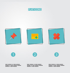 Set of project icons flat style symbols with pin vector