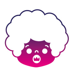 silhouette boy head with curly hair and surprised vector image