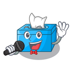 Singing cartoon tissue box on a sideboard vector