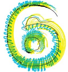 Sketch font Number 6 vector