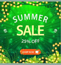 summer sale up to 25 off green square discount vector image