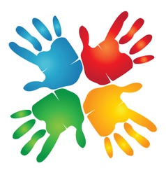 Teamwork hands colorful vector image