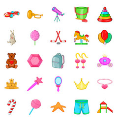 toy for girl icons set cartoon style vector image