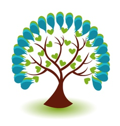 Tree hearts business logo vector image