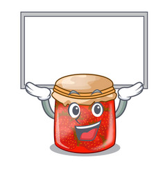 Up board character homemade strawberry marmalade vector