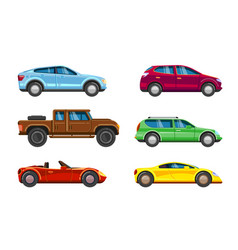 vehicle collection urban transportation in city vector image
