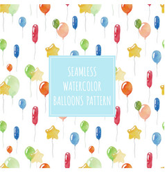 Watercolor balloons seamless holiday pattern vector
