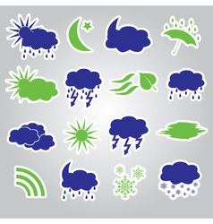 weather stickers icons set eps10 vector image