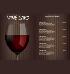wine card menu design with realistic glass vector image