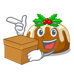 With box cartoon homemade christmas pudding with vector