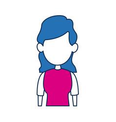 Woman avatar female blue hair fuchsia clothes in vector
