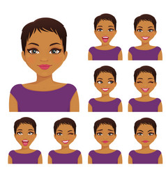 Woman emotion set vector