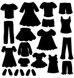 Womens fashion clothing silhouettes vector